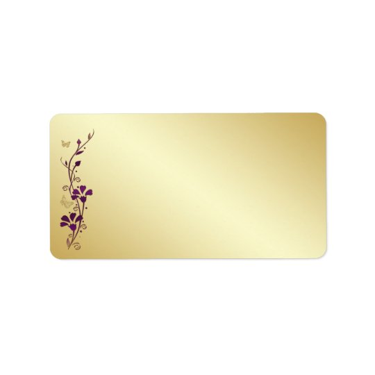 Purple, Gold Butterfly Floral Blank Address Label