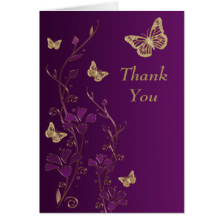 Purple, Gold Butterfly Floral Thank You Note Card