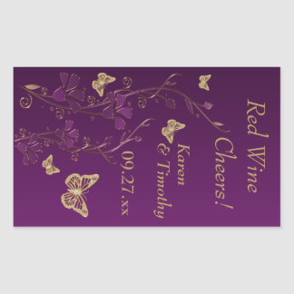 Purple, Gold Butterfly Floral Wine Label Sticker