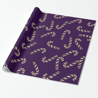 Purple Gold Candy Canes Holiday Pattern Wrapping Paper