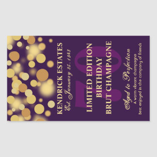 Purple Gold Champagne Bubbles Birthday Label 750ml Rectangular Sticker