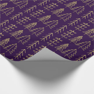 Purple Gold Christmas Trees Pattern Modern