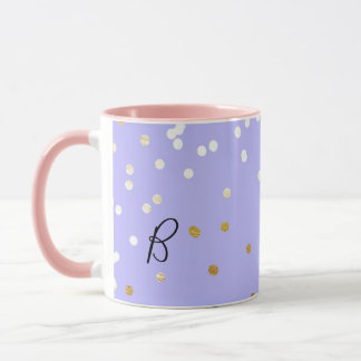 Purple & Gold Confetti Dots Modern Glamour Glam Mug