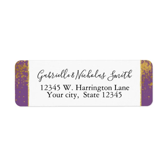 Purple Gold Confetti Dots Return Address Label