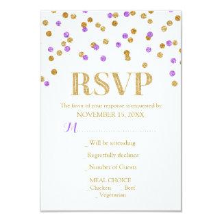 Purple Gold Confetti Wedding RSVP Cards 9 Cm X 13 Cm Invitation Card