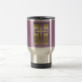 Purple & Gold Cross Travel Mug