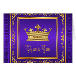 Purple Gold Crown Thank You Card