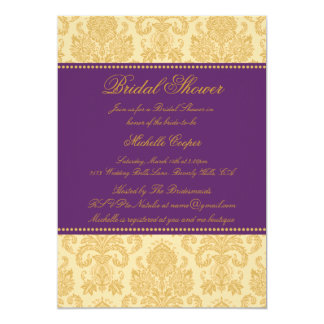 Purple & Gold Damask | Bridal Shower Invite