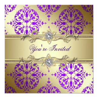 Purple Gold Damask Purple Party Card