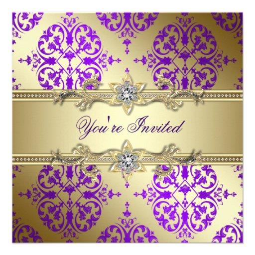 Purple Gold Damask Purple Party Custom Announcements