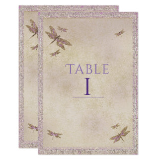 Purple & Gold Dragonflies Dragonfly Table Number