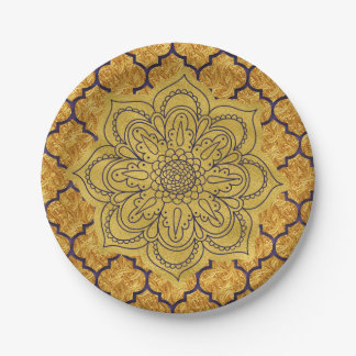 Purple Gold Elegant Royal Indian Party Wedding Paper Plate