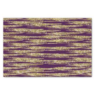 Purple Gold Faux Glitter Stripes Tissue Paper