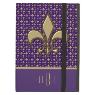 Purple Gold Faux Metal Fleur de Lis Cover For iPad Air