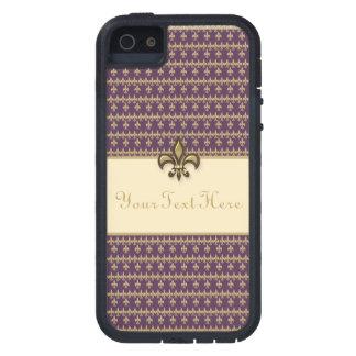 Purple Gold Fleur de Lis iPhone 5 Case