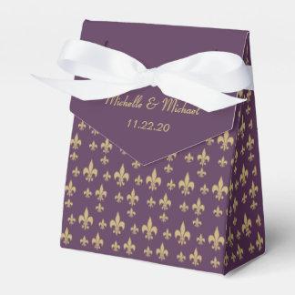Purple Gold Fleur de Lis Favour Box