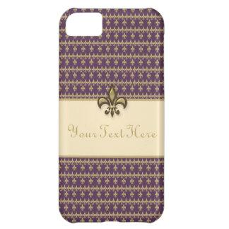 Purple Gold Fleur de Lis iPhone 5C Case