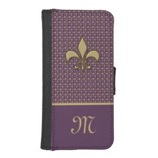 Purple Gold Fleur de Lis Phone Wallet