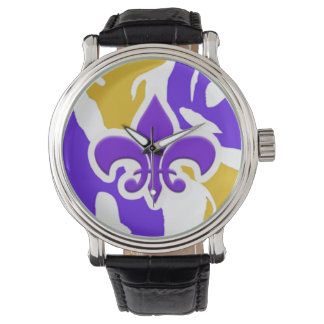 Purple & Gold Fleur de Lis Watch