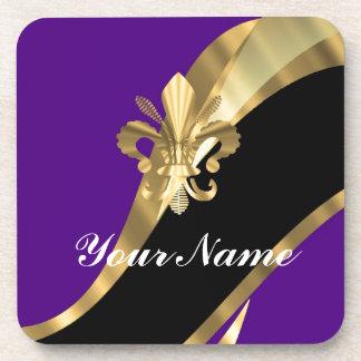 Purple & gold fleur de lys drink coaster