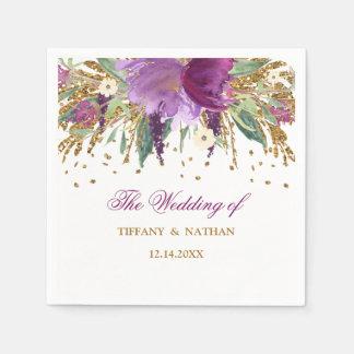 Purple Gold Floral Glitter Amethyst Wedding Napkin Disposable Napkin