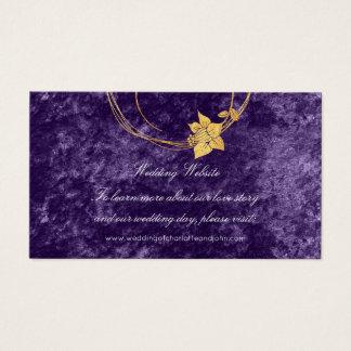 Purple Gold Floral Wedding Website Velvet Violet Business Card