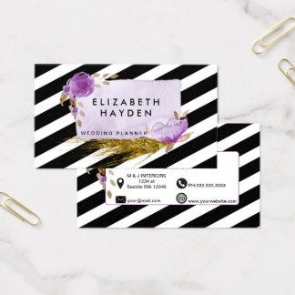 Purple gold foil Floral business card