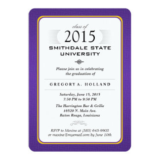 Purple & Gold Formal Graduation Party Invite