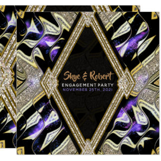 Purple Gold Glamour Engagement Party Invitations