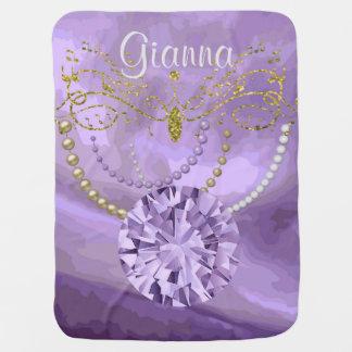 Purple Gold Glitter Music & Jewels Baby Blanket