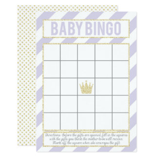 Purple Gold Glitter Princess Baby Bingo Card