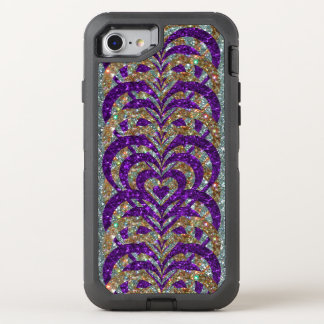Purple/Gold Glitter Spiral Vortex Hearts, Silver - OtterBox Defender iPhone 8/7 Case