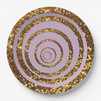 Purple & Gold Glitter Swirl and Polka Dot Plates 9 Inch Paper Plate