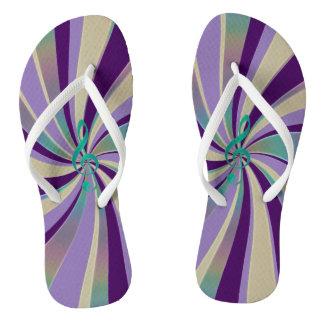 Purple Gold Green Music Clef Swirl Flip Flops Thongs