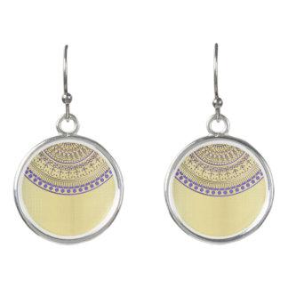 Purple Gold Half Mandala on Any Colour Earrings