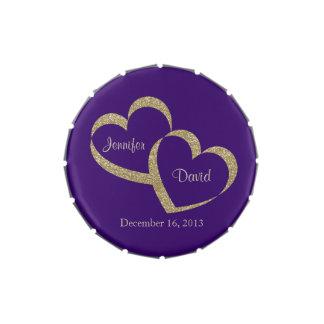 Purple & Gold Hearts Custom Wedding Candy Tin