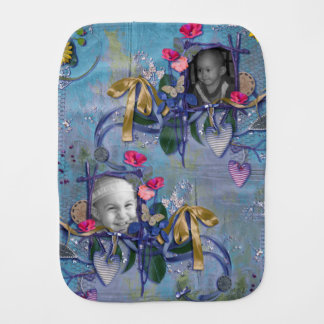 Purple & Gold Hearts & Ribbons Photo Frame Baby Burp Cloths