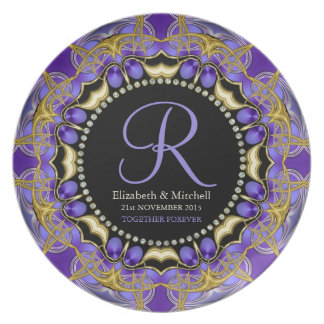Purple Gold Lace  Monogram Wedding Gift Plate