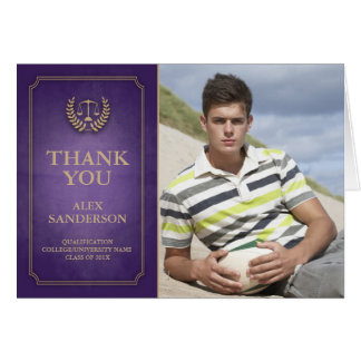 Purple/Gold Legal/Law School Graduation Thank You Note Card