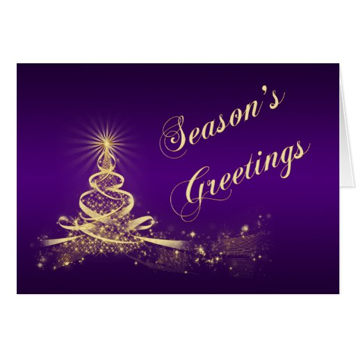 Purple, Gold Lighted Tree Corporate Holiday Card Greeting Card