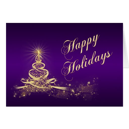 Purple, Gold Lighted Tree Corporate Holiday Card Greeting Cards