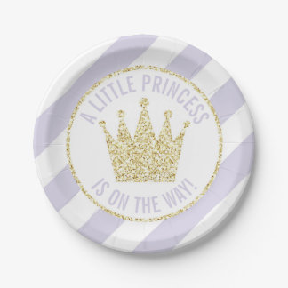 Purple Gold Little Princess on the Way Baby Shower Paper Plate