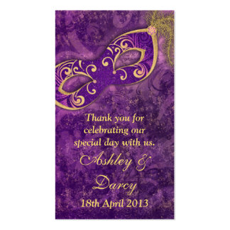 Purple Gold Masquerade Wedding Favour Tags Pack Of Standard Business Cards