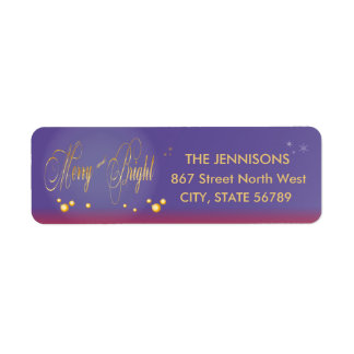 Purple Gold Merry and Bright Return Address Label