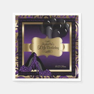 Purple & Gold Metallic - 50th Birthday  | DIY Text Paper Napkin