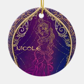 Purple & Gold Moroccan Arabian Belly Dancing Glam Ceramic Ornament