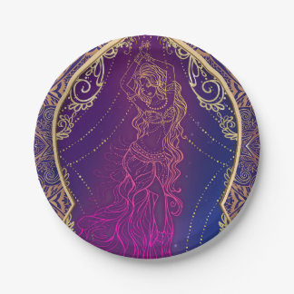 Purple & Gold Moroccan Arabian Belly Dancing Party Paper Plate
