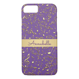 Purple Gold Music Notes Personalized iPhone 7 Case