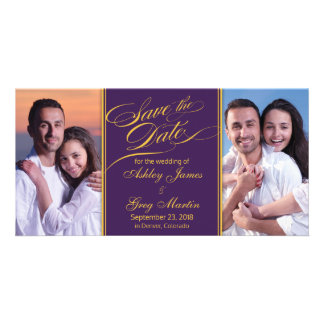 Purple Gold Photo Collage Wedding Save the Date Card