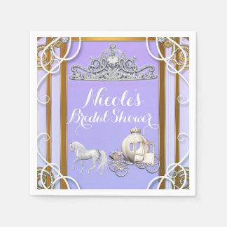 Purple Gold Princess Crown Carriage Sweet 16 Party Disposable Serviettes